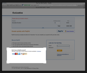 The credit card option on the PayPal website is on the bottom left side of the page, as seen here.